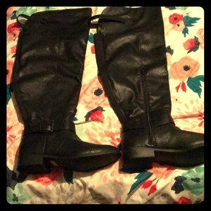 Faux Leather Over Knee Boots (wide calf)